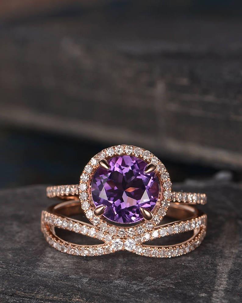 Amethyst Engagement Ring Set Rose Gold Bridal Sets Halo Half Etsy