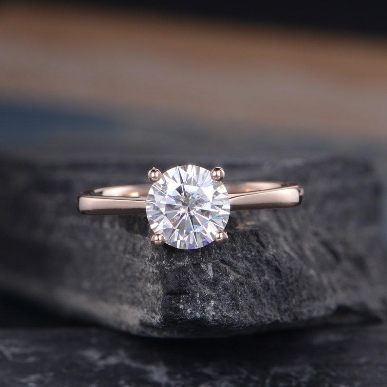 45378c8bb13d26 Solitaire Moissanite Engagement Ring Rose Gold Eternity Bridal   Etsy