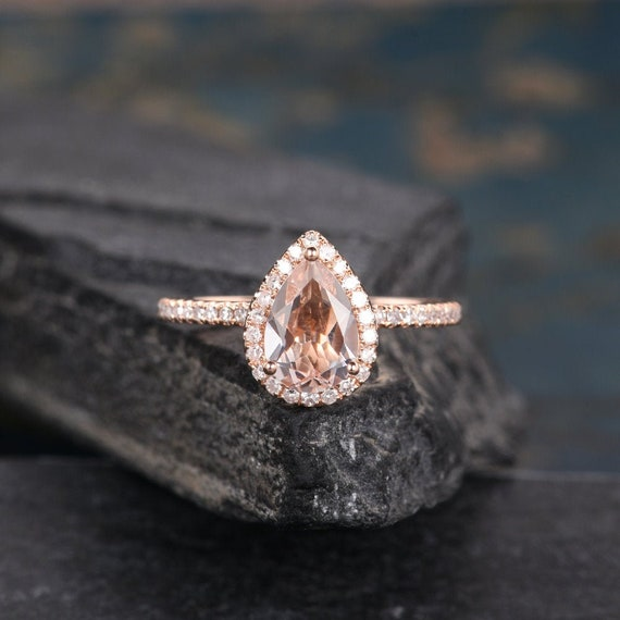Pear Shaped Morganite Ring Rose Gold Engagement Ring Wedding Etsy
