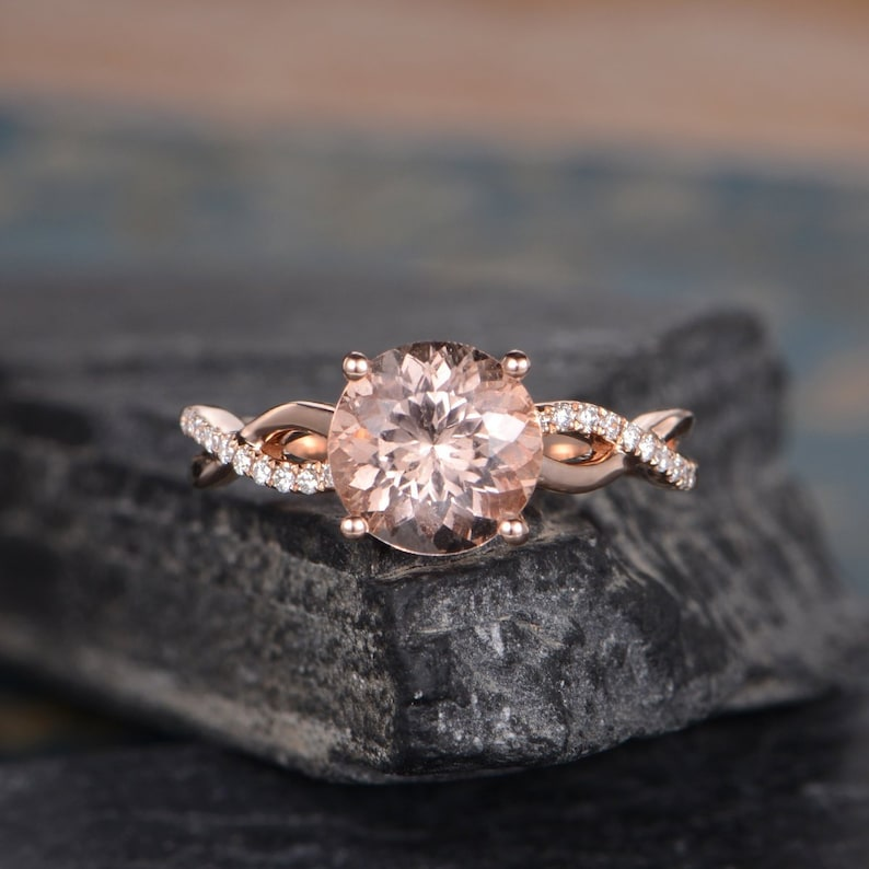 48b6a993c Rose Gold Morganite Engagement Ring Round Cut Infinity Band   Etsy