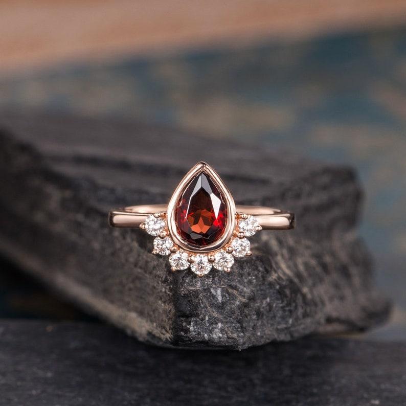 Garnet Engagement Ring Rose Gold Pear Shaped Rose Gold Bezel Etsy