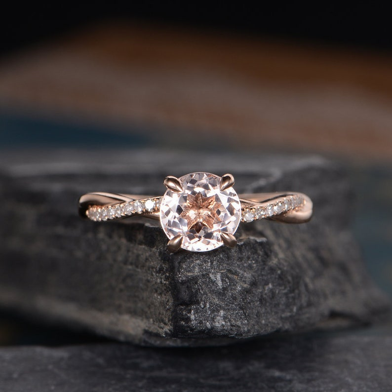 2f2a031bd Morganite Engagement Ring Rose Gold Round Cut Solitaire Ring   Etsy