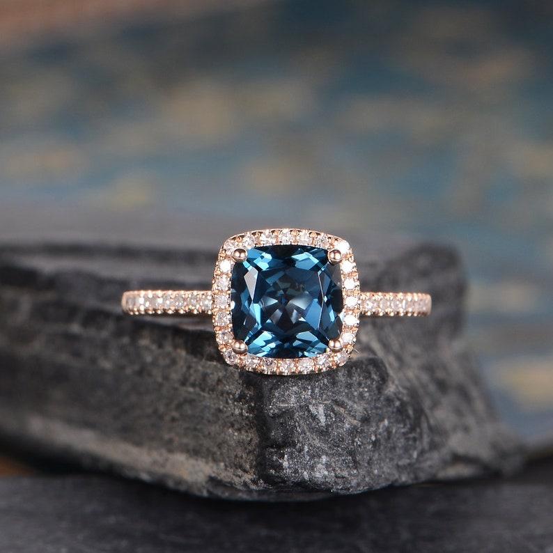 London Blue Topaz Engagement Ring Rose Gold Cushion Cut Halo Diamond Bridal Women Ring Wedding Anniversary Gift For Her Half Eternity