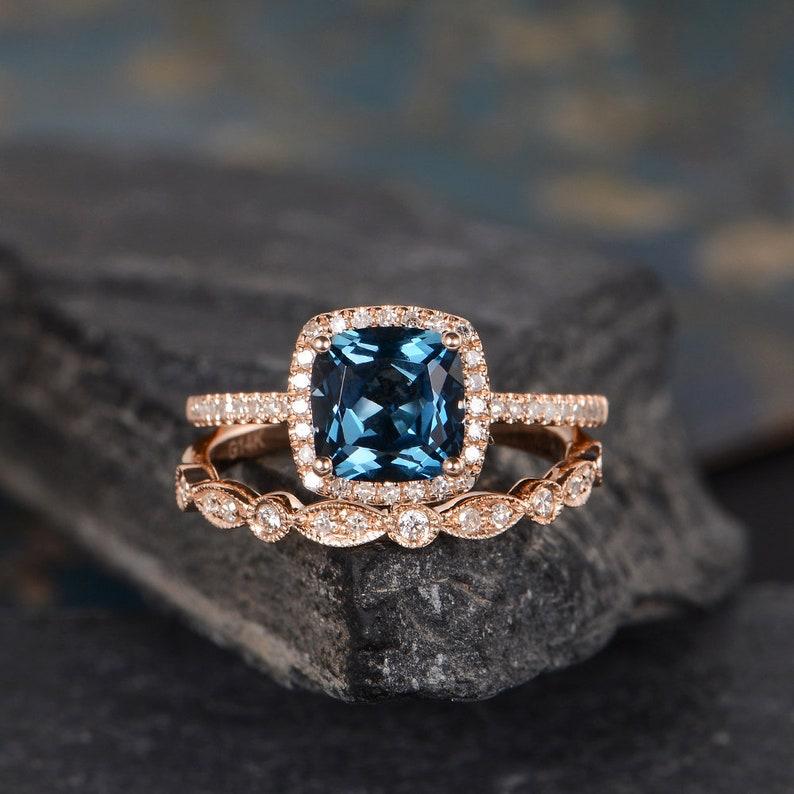 London Blue Topaz Engagement Ring Rose Gold Bridal Set Art Deco Band Milgrain Cushion Cut Halo Diamond Half Eternity Ring Anniversary Gift