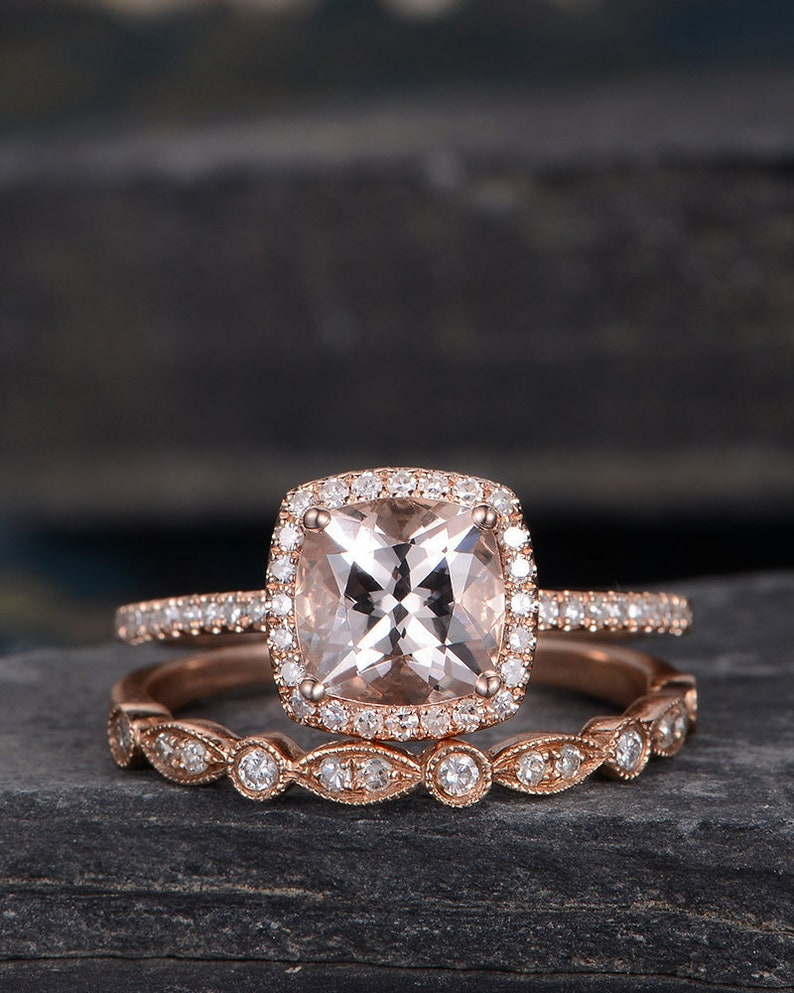 Rose Gold Engagement Ring Cushion Cut Morganite Ring Bridal image 0