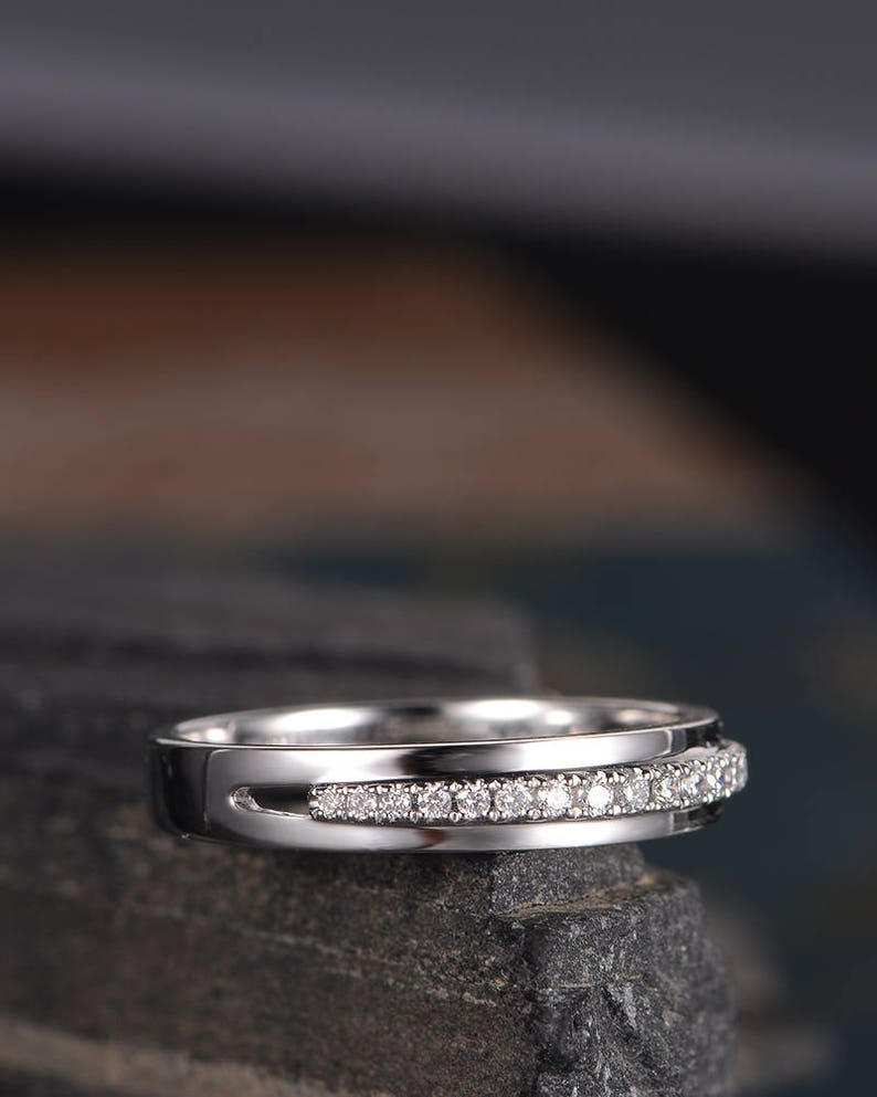 248d4923abf15 Mens Wedding Band White Gold Diamond Eternity Stacking Ring Dainty Unisex  Couple Ring Anniversary Promise Simple Gift for Her Bridal
