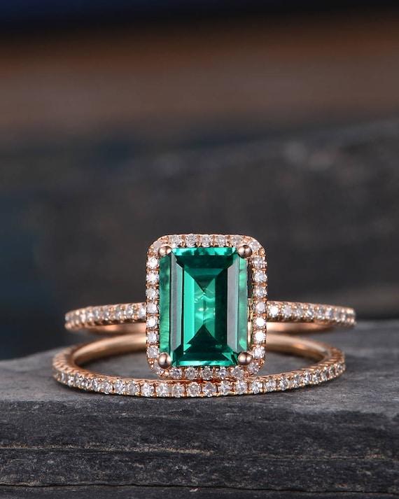 Lab Emerald Bridal Sets Wedding Ring Rose Gold Engagement Ring Etsy