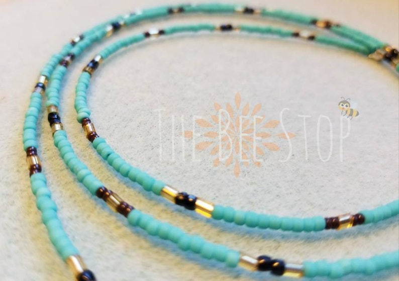 Belly Beads Turquoise Black Stainless Steel Clasp Grand Rising ~\u300bWaist Beads Belly Chain Gold Brown Body Jewelry Waistlet
