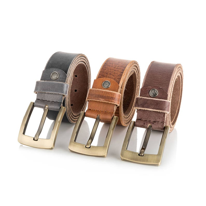 Leather Belts mens Real New Genuine Buckle Trouser Sizes Brown image 0