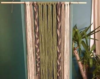 Yarn Wall Hanging- Wall Hanging- Braids, Multi Colored