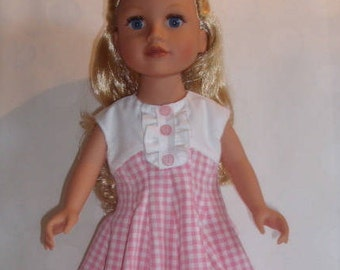 """Clothing doll 47 cm (Journey Girls) """"Flared dress"""" gingham pink with white frill"""