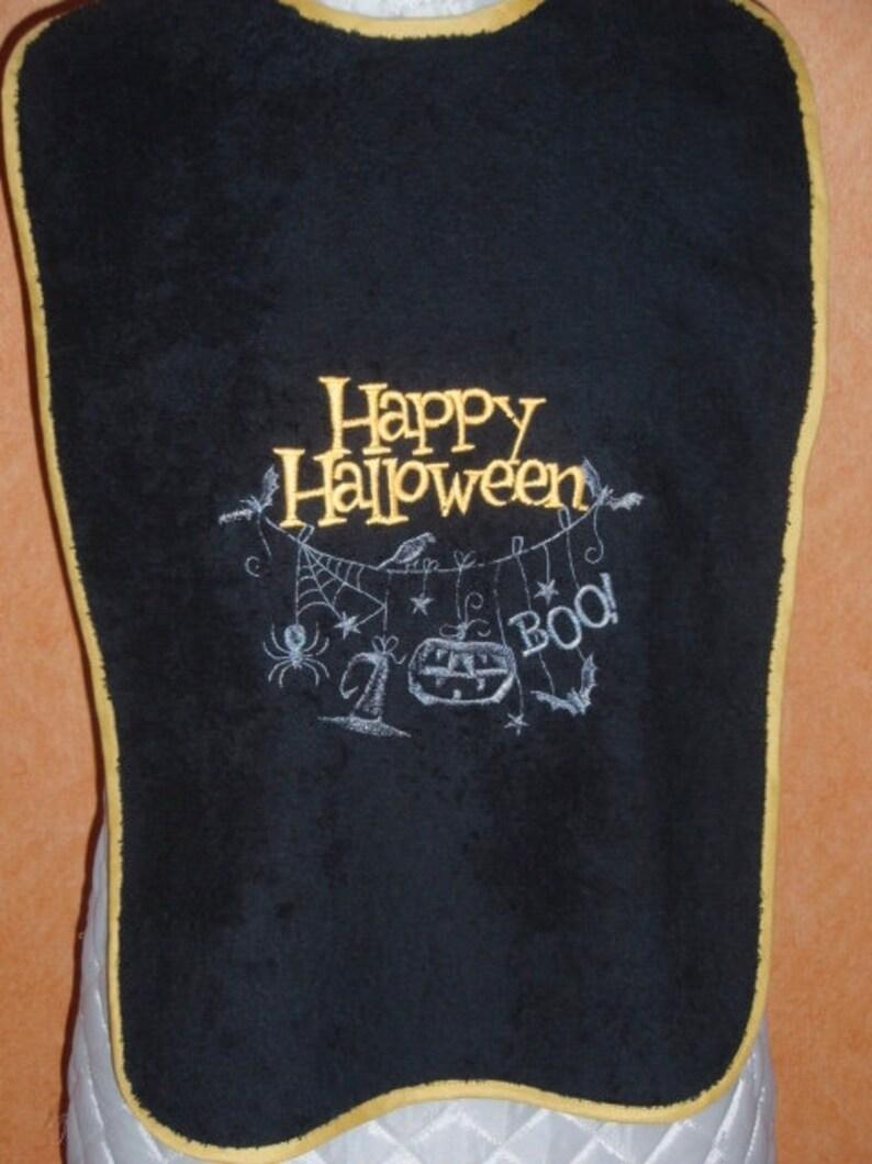 Adult bib   adult Bavette table towel   custom adult Protection Broderie machine Happy Halloween