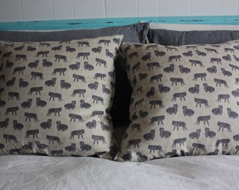 Tiger Plant and Gray Blue grunge pillow cover
