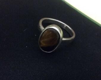 Tiger eye cabochon ring sterling
