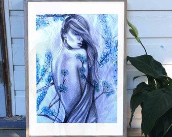 Watercolour & Pencil Sketch Flowerchild Print
