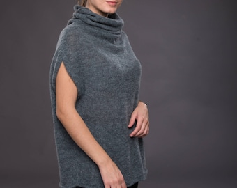 Knit wool sleeveless clothes Casual women alpaca poncho Blue warm sweater Women short vest Soft turtleneck elegant vest top Gift for mom