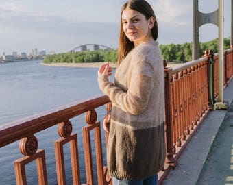 Knitted cardigan Loose knitted wrap Mohair light cardigan Wool cardigan Beige brown transparent cardigan Cute loose cardigan Summer outdoors