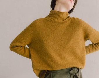 Mustard  pure cashmere sweater for women, Minimalist khaki soft and cozy turtleneck women's sweater