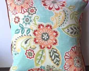 Beige, Aqua-Green pillow Cover with Red, orange and peach floral print/ burnt orange back combination 20x20
