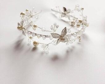 Wedding band, Bridal band, Wedding jewelry, Wedding hair band, Bridal hair band, flower hair band, Pearl hair band, Crystal hair band