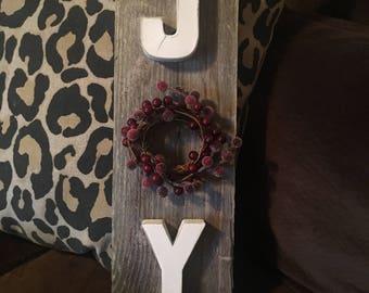 Joy with wreath sign, Christmas sign, Christmas decor, joy sign, wreath sign
