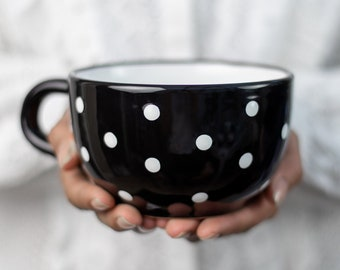 Large Coffee Mug | Pottery Soup Mug | Stoneware Coffee Mug, Black and White Polka Dot, EXTRA LARGE Mug, Handmade Ceramic Cute Mug