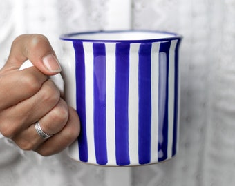Stoneware Coffee Mug | Large Coffee Mug | Cute Mug | Navy Blue Stripe, EXTRA LARGE Mug, Handmade Pottery Unique Coffee Mug Tea Lovers Gift