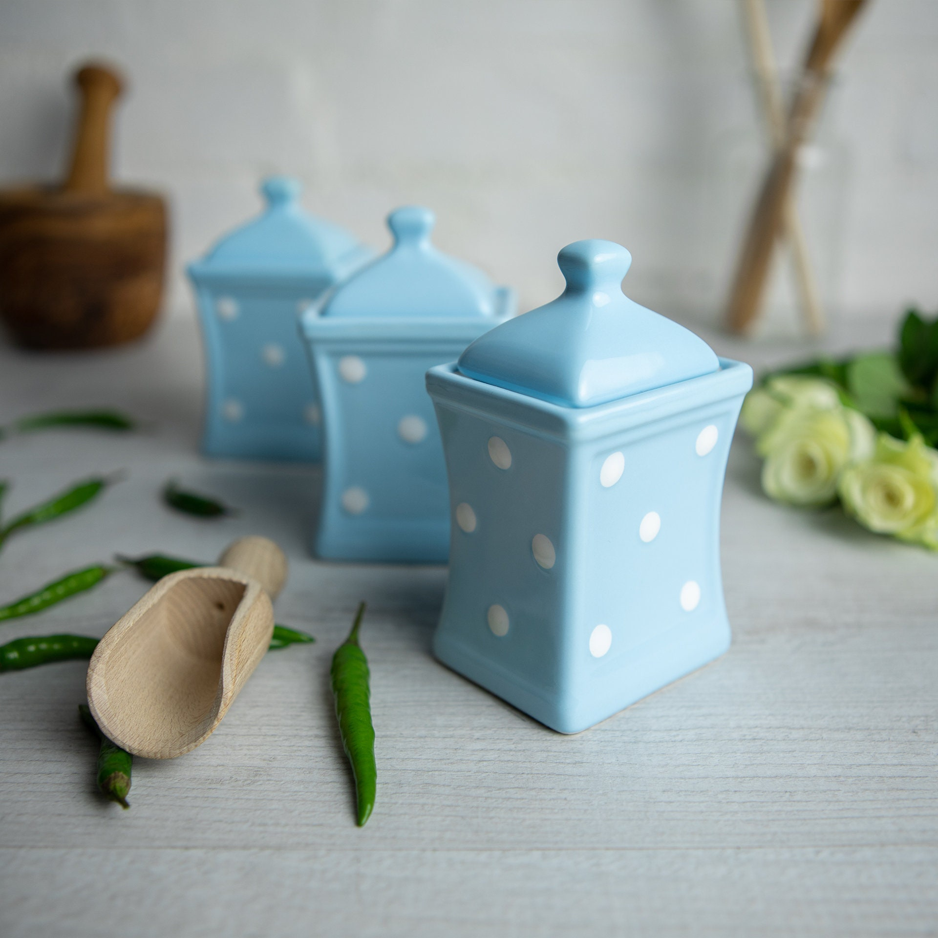 Light Sky Blue White Spice Jars Kitchen Canisters Storage Etsy
