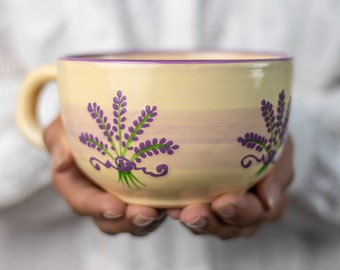 Large Coffee Mug | Pottery Soup Mug | Stoneware Coffee Mug, Purple Lavender Floral, EXTRA LARGE Mug, Handmade Ceramic Cute Mug