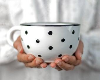 Large Coffee Mug | Pottery Soup Mug | Stoneware Coffee Mug, White and Black Polka Dot, EXTRA LARGE Mug, Handmade Ceramic Cute Mug