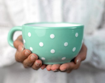 Large Coffee Mug | Pottery Soup Mug | Stoneware Coffee Mug, Teal Blue and White Polka Dot, EXTRA LARGE Mug, Handmade Ceramic Cute Mug