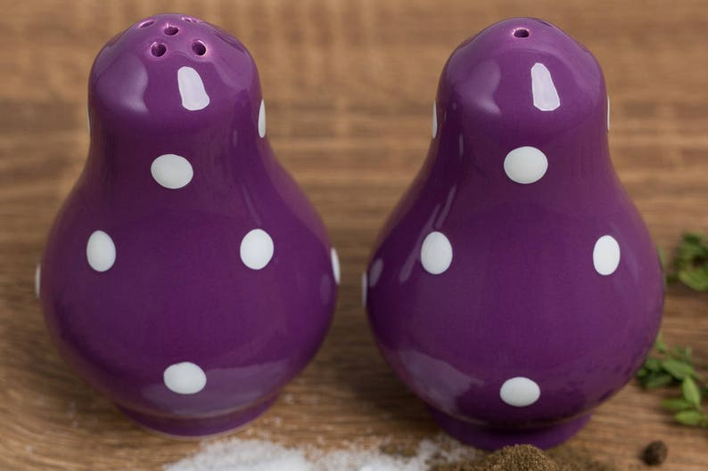Country Cottage Style Handmade Pottery Purple and White Polka dot Pots Salt and Pepper Shakers Housewarming Gift Ceramic Cruet Set