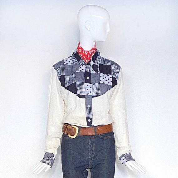 70s Patchwork Yoke Shirt | Unisex