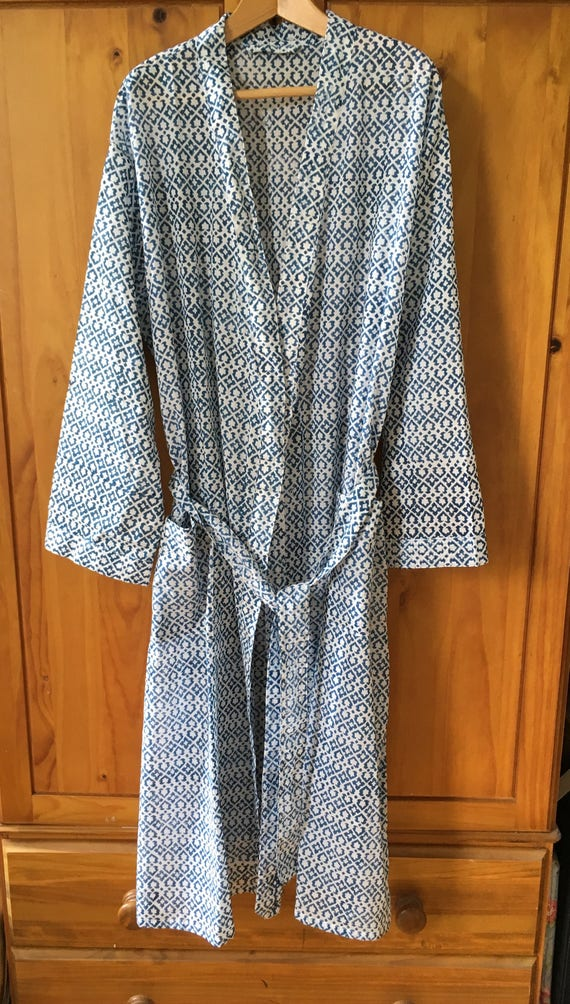 Lightweight cotton block printed dressing gown rob