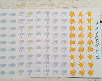 Weather Stickers, Sun, Rain, Snow, Thunderstorm, Clouds