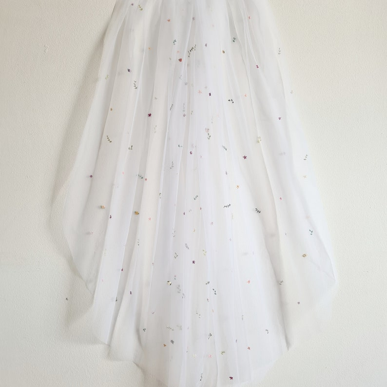 Ready to Ship Hand Embroidered Fingertip Length White Wedding Veil with Pink and Purple Multicoloured Flowers and Greenery