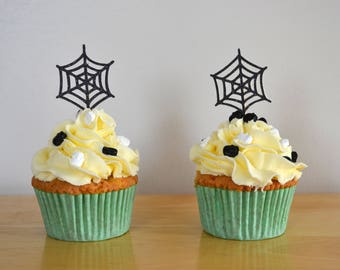 Spider Web cupcake topper/ Halloween cupcake topper/ Black spider web/ Glitter cupcake topper/ Pack of 6