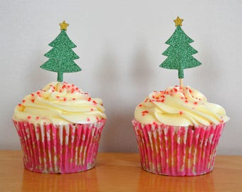 Christmas tree Cupcake Topper/ Pack of 6 / Xmas Cake Topper/ Green and Gold Christmas Tree Cake Decoration
