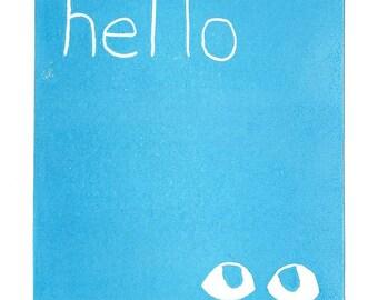 Hello Greeting Card SUPPORTS CHARITY 5x7 Handmade Linocut Artwork