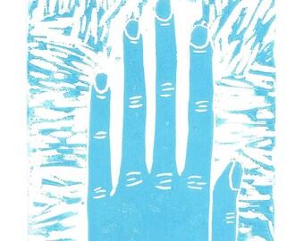 Pastel Hand Greeting Card SUPPORTS CHARITY 5x7 Handmade Linocut Artwork