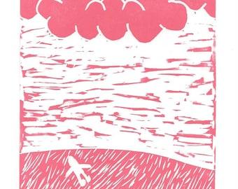 Cloudgazing Greeting Card SUPPORTS CHARITY 5x7 Handmade Linocut Artwork