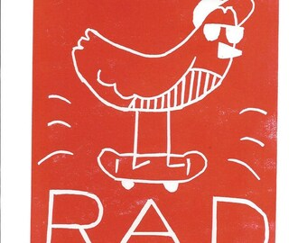 Rad Bird Greeting Card SUPPORTS CHARITY 5x7 Handmade Linocut Artwork