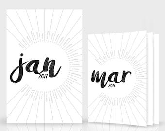 2017 + 2018 Calendar Template - Modern Black & White, Simple Wall Calendar, Illustrator, 12 Month Calendar Printable Instant Download - 1108
