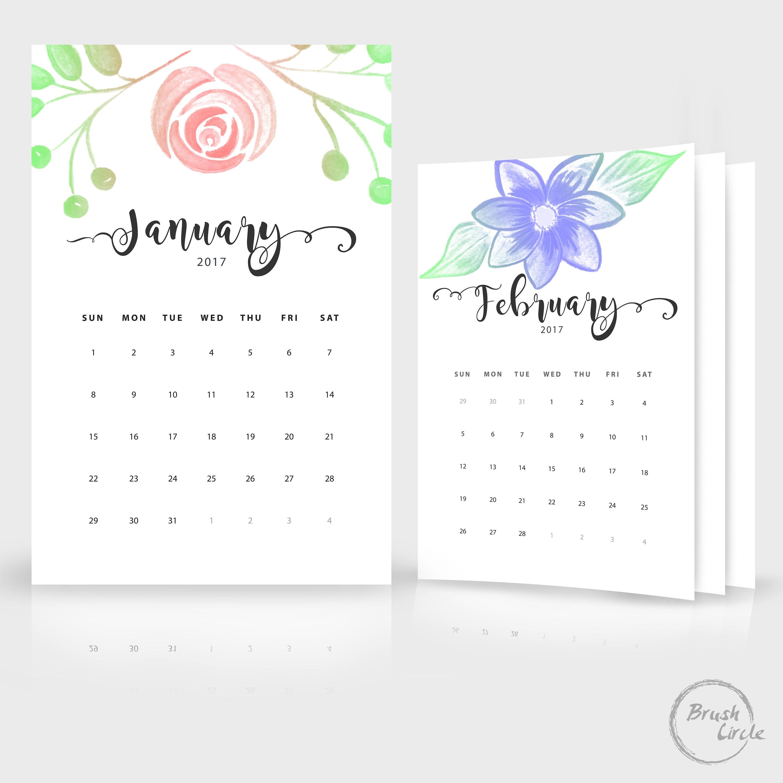 2017 2018 plantilla calendario calendario de pared Floral | Etsy