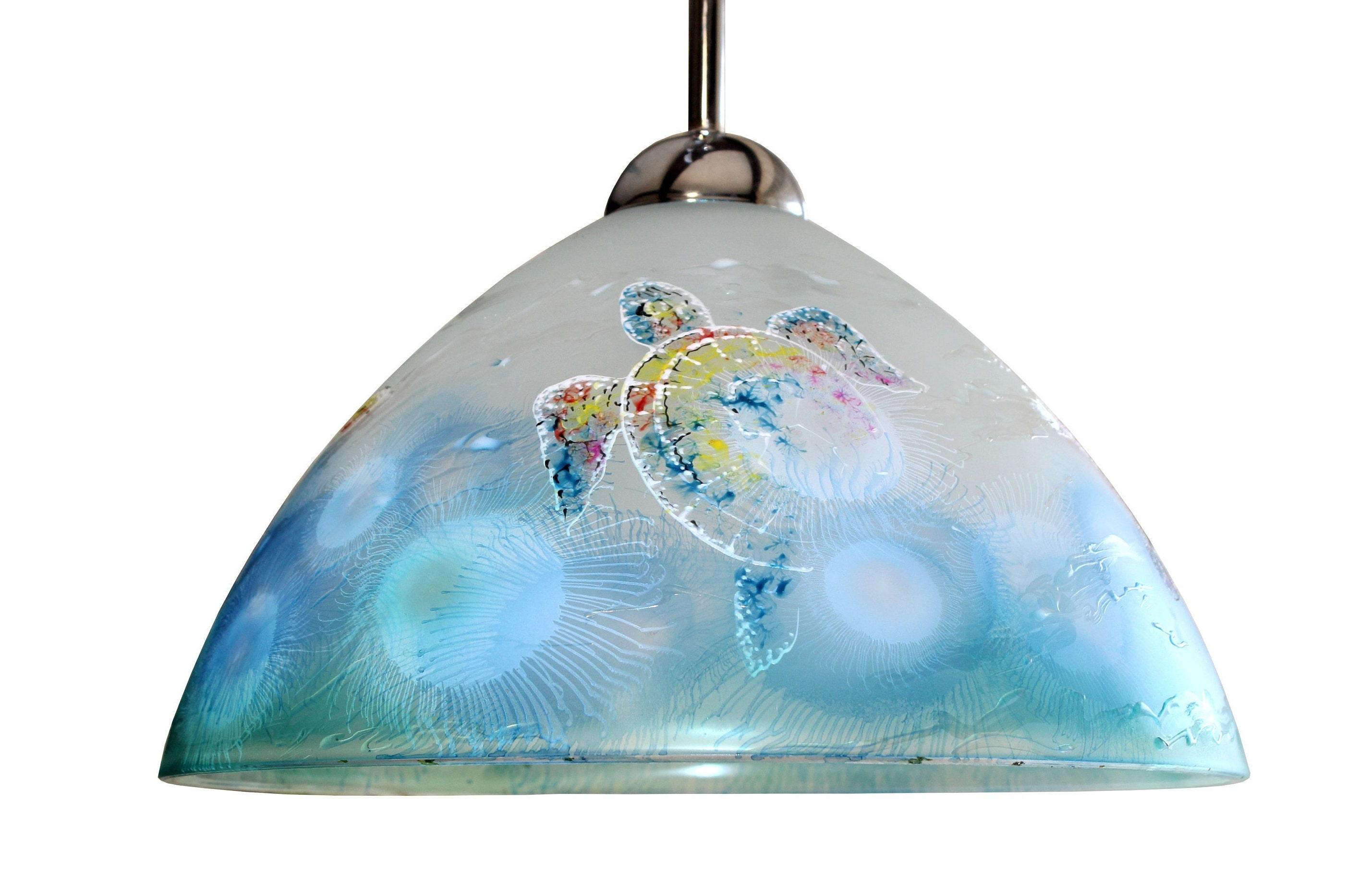 Nautical light chandelier lights coastal lighting sea beach ocean lamp ceiling fixture ceiling lampshade painted glass decor pendant lamp