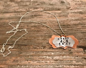 Crazy dog lady two tone necklace