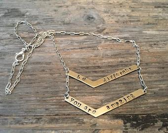 Uneven inspirational necklace
