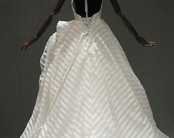 Whimsical Ball Gown Wedding Dress   Asymmetrical Skirt, Pin Strips Satin, V-neck Halter, Low Back   White Wedding Gown