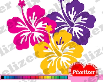 Digital Hawaiian Flowers, Hawaii Style, tropical clipart, instant download, 25 colors, transparent background, scrapbook, commercial use cu