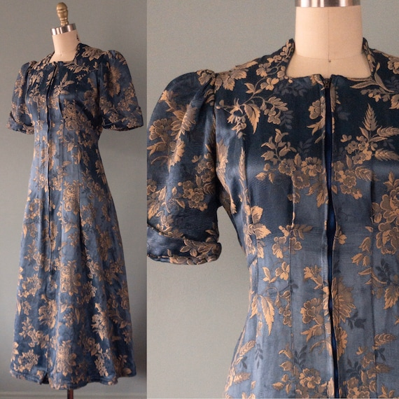 Vintage 1930's Zipper Front Brocade Dress